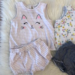 H&M Matching Sets - H&M Baby Girl Top & Puff Shorts Sets 6-9M
